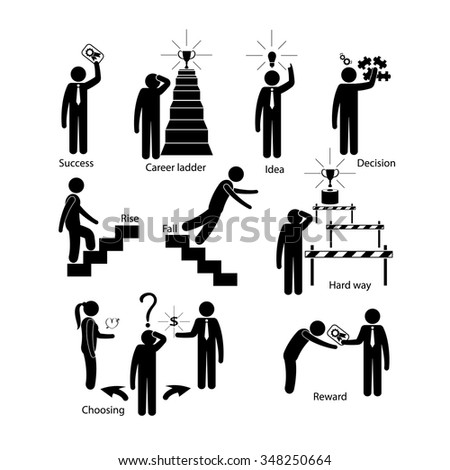 Employer and employee business career path to success - stock vector