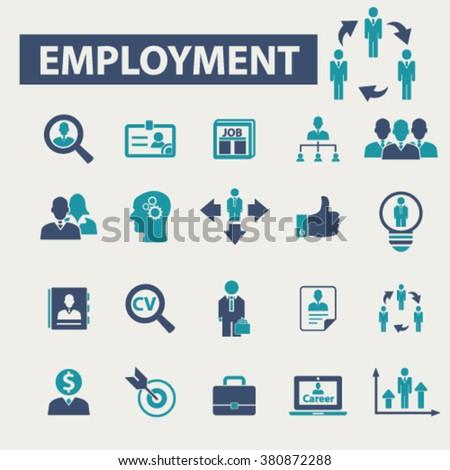 employment, career, human resources, job icons set - stock vector