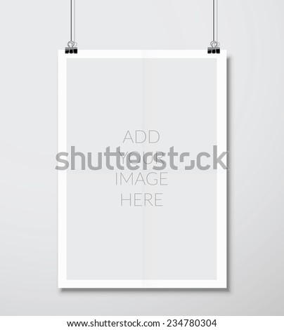 Empty A4 sized vector paper frame mockup hanging with paper clip - stock vector