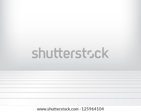 Empty a white Interior of vintage room without ceiling from gray grunge stone wall and old wood floor. Pattern gallery to the exhibition as perfect background for your concept or project. - stock vector