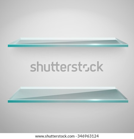 Empty advertising glass shelves with a spot lignt - stock vector