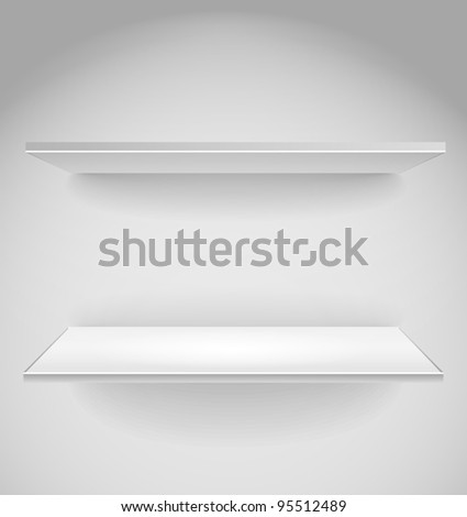 Empty advertising shelf with a spot lignt - stock vector