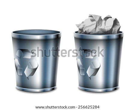 Empty and filled trash can icons, vector illustration - stock vector