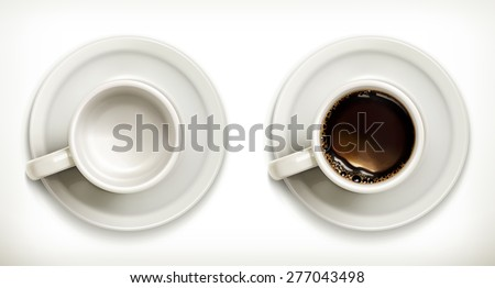 Empty and full coffee cups, vector icons set - stock vector