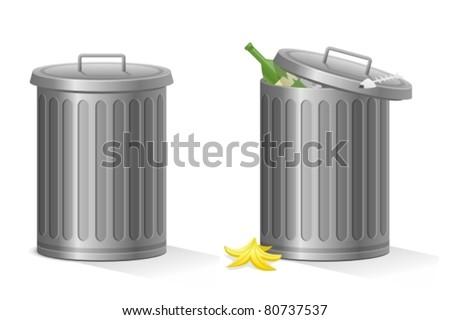 Empty and full refuse bin - stock vector