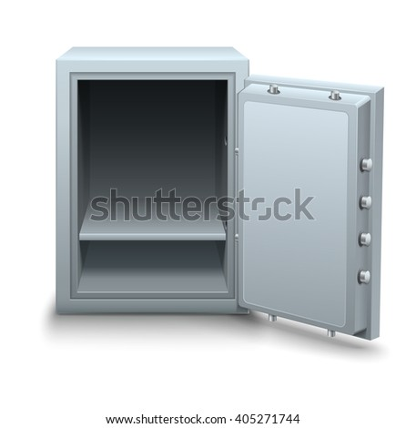 Empty bank safe for money keeping with open metallic door vector illustration. Isolated on white background. Business icon concept. Metal box.  - stock vector
