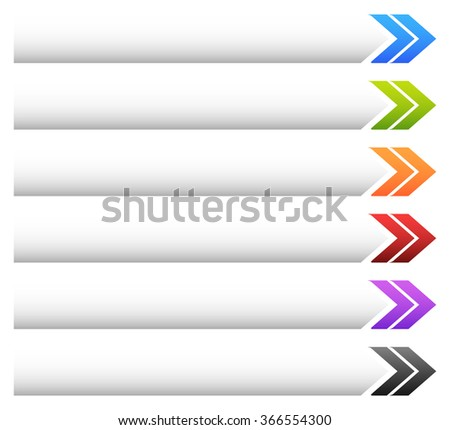 Empty banner, button background with arrow shape in various colors.