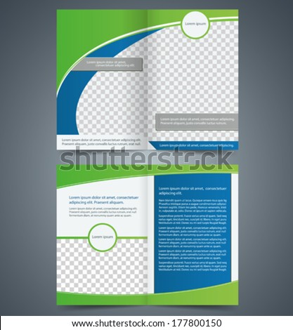 Empty bi-fold brochure template design with green color, booklet - stock vector