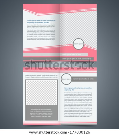 Empty Bifold Brochure Template Design Pink Stock Vector - Bi fold brochure template