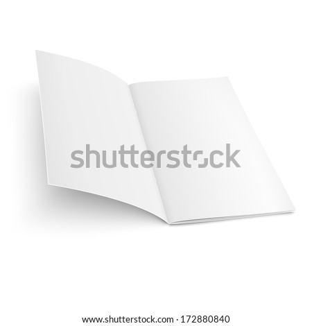 Empty bi-fold brochure template with clips on white background, pure. Vector illustration. EPS10. - stock vector