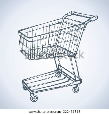 Empty big old warehouse trolly wagon for spend isolated on white background. Vector freehand linear ink drawn sketchy sign in art scribble style pen on paper. Side view with space for text