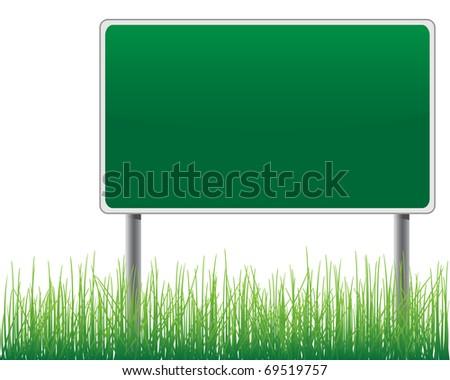 Empty billboard grass below vector. - stock vector