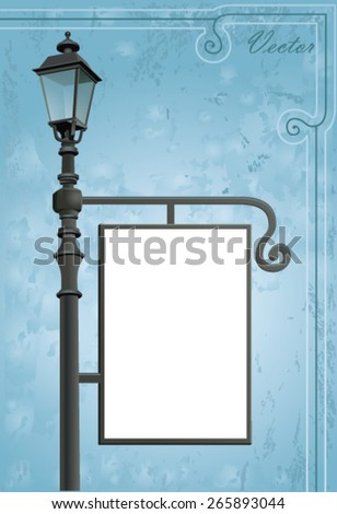 empty billboard on the street lamppost - stock vector