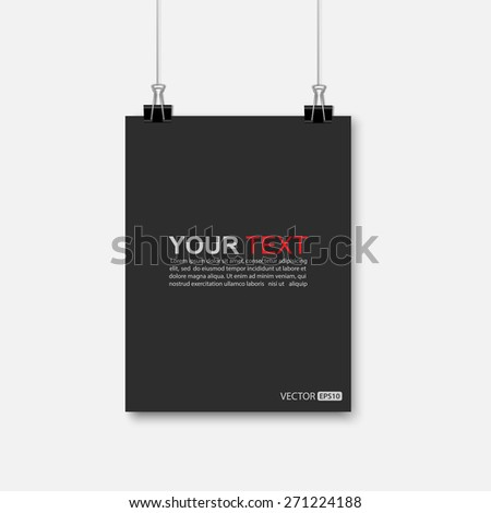 Empty black A4 sized paper hanging with paper clips.vector - stock vector