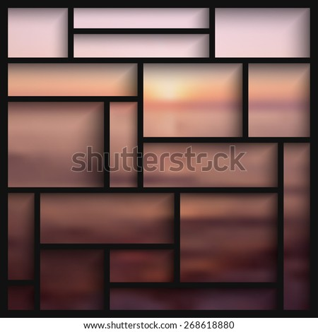 Empty black  modern shelves on the blurred photo wallpaper. Vector illustration - stock vector