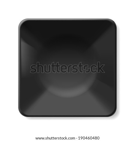 Empty black soup-plate isolated on white background