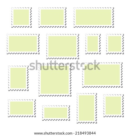 Empty blank postage stamps different size, icons set, with shadows, isolated on white background, vector illustration. - stock vector