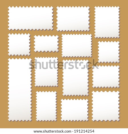 empty blank postage stamps different size in white color isolated on beige background with shadows. vector illustration  - stock vector