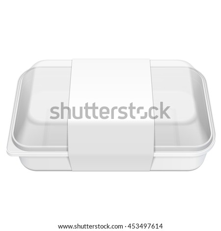 Empty Blank Styrofoam Plastic Food Tray Container Box With Lid, Cover, Lable. Illustration Isolated On White Background. Mock Up Template Ready For Your Design. Vector EPS10 - stock vector