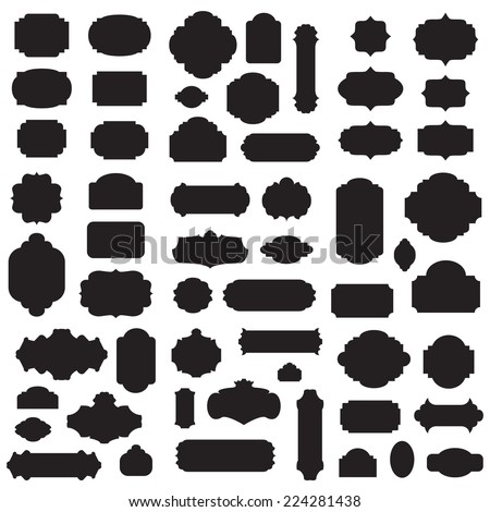 Empty blank vintage frame, set, romantic old style design elements, abstract objects, black silhouettes isolated on white background, vector illustration. - stock vector