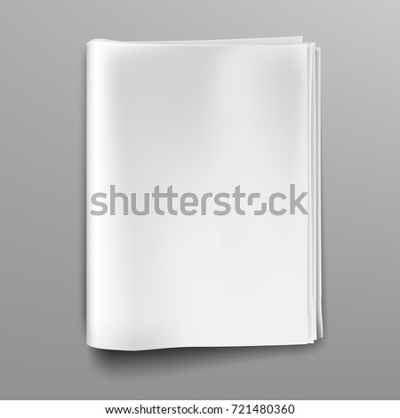 Empty Blank White Newspaper Magazine Mockup Front Page Realistic Vector