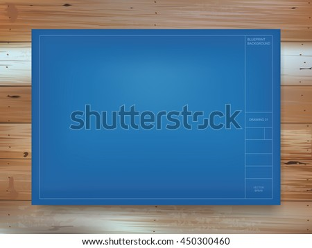 Empty blueprint paper background on vintage stock vector 450300460 empty blueprint paper background on vintage wood pattern and texture vector construction graphic idea malvernweather Image collections
