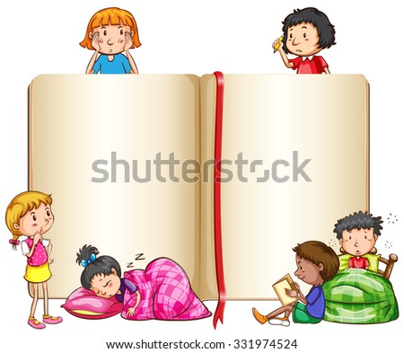 Empty book and children sleeping  illustration - stock vector