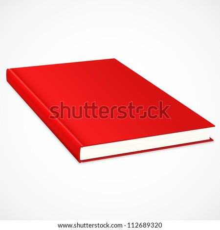 Empty book with red cover. Vector illustration - stock vector