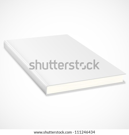 Empty book with white cover. Vector illustration
