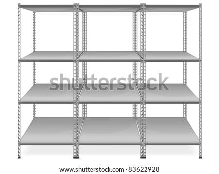 Empty bookshelves isolated on white background, vector illustration - stock vector