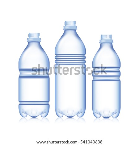 Empty Bottle. Set Realistic Blank Plastic Blue Water Bottle. Mock Up For Your Design. Vector Template Background