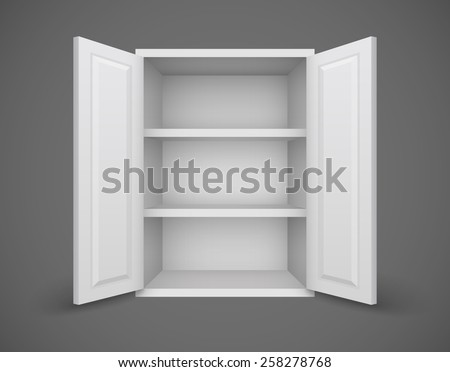 Empty box with open doors and bookshelves nothing inside. Eps10 vector illustration - stock vector