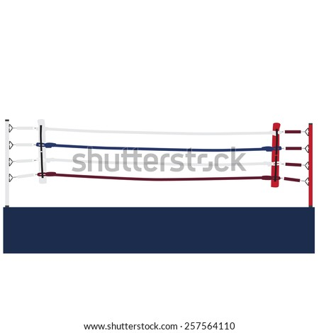 Empty boxing ring vector isolated, boxing ring ropes, platform, training