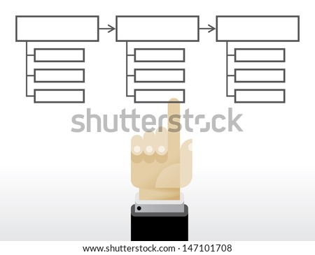 Empty Business chart with businessman hand.