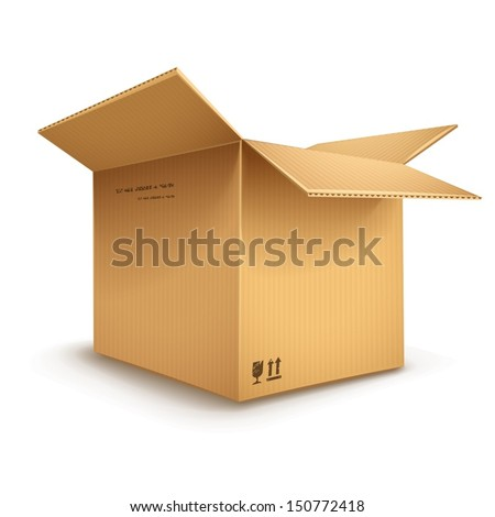 empty cardboard box opened isolated on transparent white background - eps10 vector illustration - stock vector