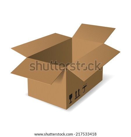 Empty cardboard box opened isolated on white background with shadow - vector illustration