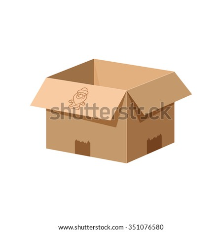 Empty cardboard gift box. Open box with the image of Santa Claus.