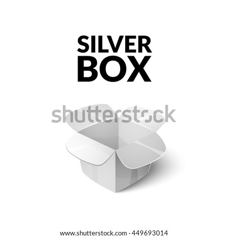 Empty cardboard packaging, open silver box icon in cartoon style, vector illustration - stock vector