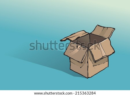 Empty cardboard packing/storage box. Hand drawn isolated vector sketch on blue background. - stock vector