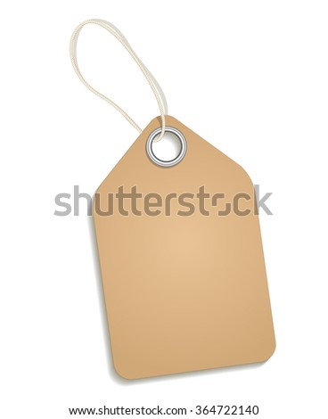 Empty cardboard tag. Paper tag, price tag for retail, label on string, hang message, retro note. Cardboard blank tag vector illustration
