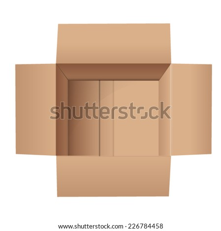 Empty Cardboard Top View - stock vector
