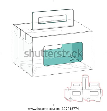Empty Caring Box with Die Line Template - stock vector