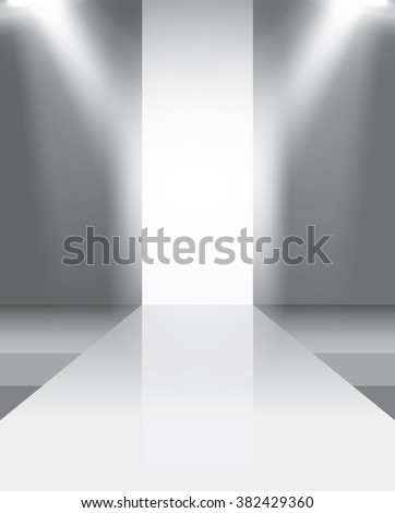Empty catwalk, fashion runway illuminated vector illustration - stock vector