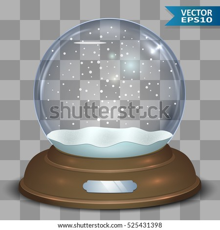 Empty Christmas snow globe with falling snowflakes vector template. Layered eps10 file.