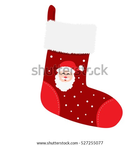 Empty christmas stocking isolated on white background. Vector illustration of red sock with Santa Claus.