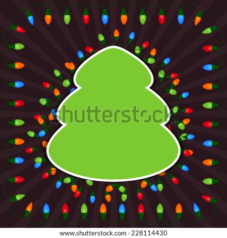 Empty Christmas tree with light bulbs on dark background - stock vector