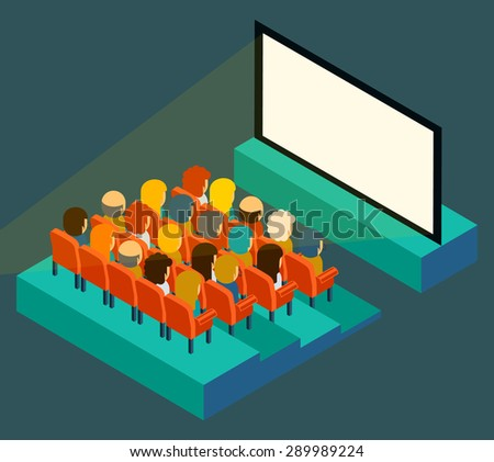 Empty cinema screen with audience. Isometric in flat style. Film show, seat and presentation, entertainment and auditorium, vector illustration - stock vector