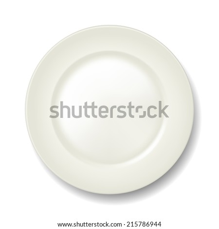 Empty classic white plate on isolated background. View from above. Vector