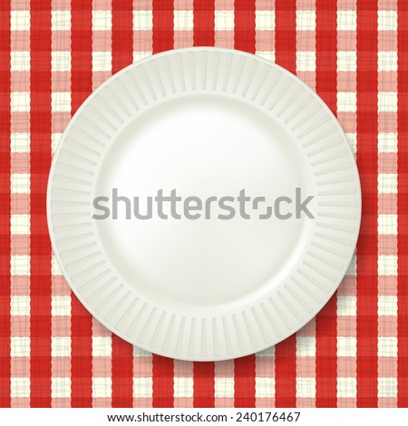 Empty classic white plate with checkered tablecloth on background. Vector
