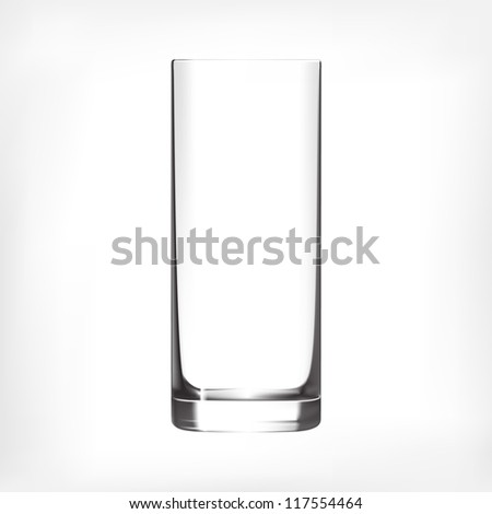 Empty clean drinking glass cup. Transparent glass. - stock vector